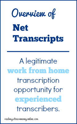 Review of the work from home transcription opportunity at Net Transcripts.