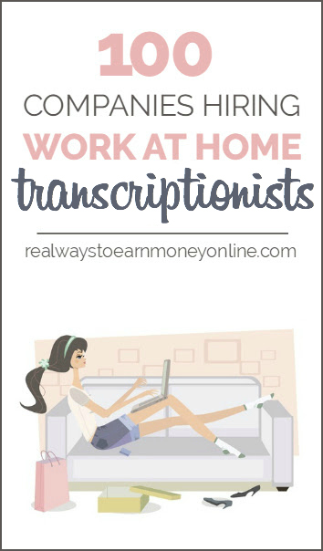 List of 100 work at home transcription companies.